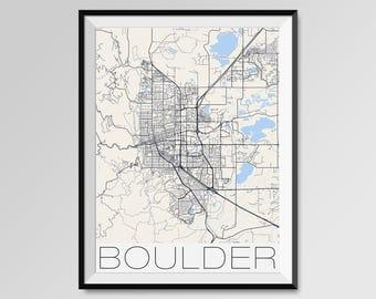 BOULDER Colorado Map, Boulder City Map Print, Boulder Map Poster, Boulder Map Art, Boulder gift, Custom city maps, University of Colorado