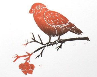 Bird with red berries.  Linocut / hand printed