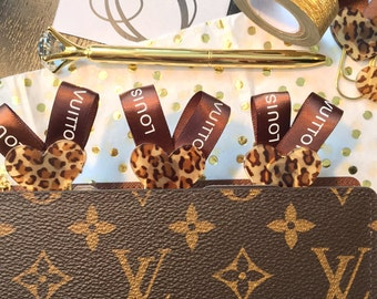 Double sided! Leopard Print & Silk Ribbon Paperclips