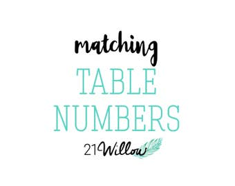Matching Table Numbers, Table Number Add-On