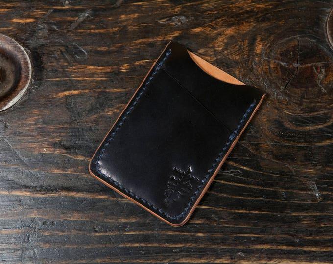 Black Shell Cordovan Minimalist Wallet - Handstitched with Indigo Thread