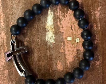 Men's bracelet in matte black with graphite cross