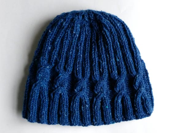 Man's knit beanie: Aran hat in Irish Donegal tweed wool; original design. Made in Ireland. Cable knit hat in blue quality wool. Great gift.