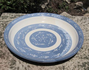 Pie Plate with Blue Banding and Sgraffito Design