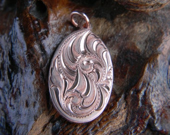 Hand Engraved Bright Cut Scroll Design Copper Pendant