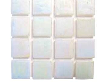 """3/4"""" Iridescent White Glass Tile"""