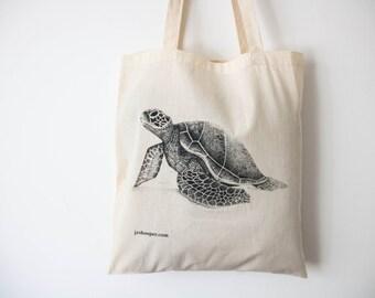 Sea turtle eco-shopping cotton tote bag, turtle design zero-waste market bag, ethical turtle cotton shoulder handbag, sea turtle bag