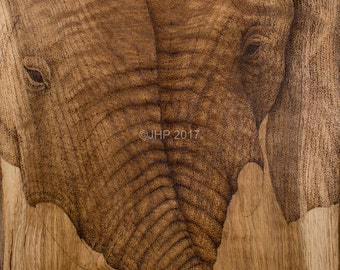Pointillism  elephant fine art giclee print, limited edition signed reproduction print of two elephants with entwined trunks on oak
