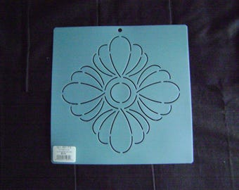Sashiko Japanese Embroidery Stencil Asian Flower Block/Quilting/7.5 in.