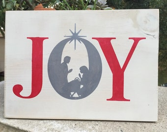 Joy nativity scene wood decor,Holiday wood decor,Christmas plaque,Holiday Gallery wall art,Holiday sign,Christmas manle decor,religious art