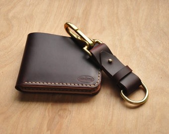 Personalised Maroon Horween Leather Key Ring / Simple Key Holder / Quick Release Key Fob / Key Chain / Leather Lanyard