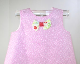 MIA - Sundress - Size:9-12 months, Pink, White, Floral, Hearts, Baby Girls' Clothing, Dresses, Baby Girl Dress, Birthday, Cotton, Handmade