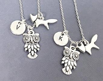 925 Sterling Silver,best Friends Necklace,Owl Necklace,Owl Charm,Couples Necklace,Sisters Necklace,Best Friend Jewelry,Friendship Jewelry