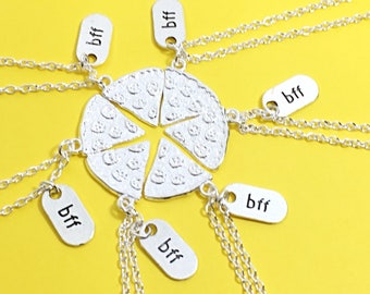 SALE,Set of 6 Best Friend Necklaces, BFF  for 6,  Best Friend Gift, Friendship Jewelry, Best Friend Necklace, Pizza Necklace, 6 Friends, bff