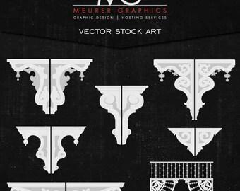 Victorian Corbel vector stock art (set of 7)