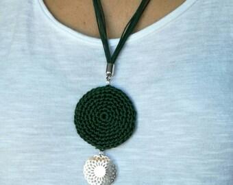Crochet pendant - Thread pendant - Bohemian necklace - Tassel pendant - Crochet necklace