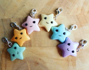 Star planner charm, one star charm, polymer clay charm, star stitch marker, iphone charm, kawaii star charm, TN planner charm, pendant charm