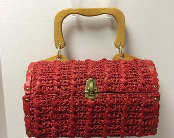 Delill Retro Red Raffia and Wood Top Handle Handbag/Doctor Bag Made in Japan
