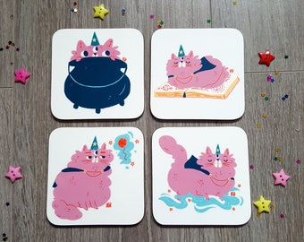 Wizard Cat Coaster Set - Cute - Magic - Kawaii - Tea - Coffee - Home