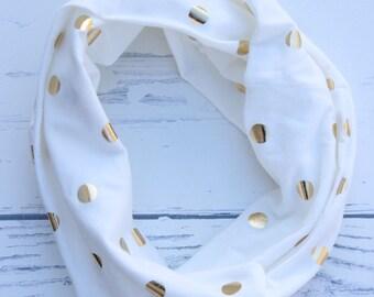Gold polka dot infinity scarf - girls scarf, kids scarf, white, jersey knit