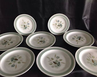 8 x Plates - Vintage Wood Ware Clovelly - 6 Dinner & 2 Side - Light Teal Rim