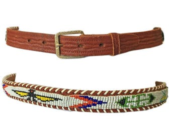 "Vintage Beaded Thunderbird Tribal Belt — 28""w"