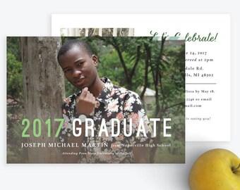Modern 2017 Graduate Graduation Photo Announcement [Digital Download]