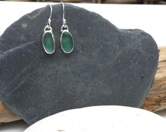 Green Seaglass Earrings, Teal Seaglass Earrings, Seaglass Earrings, Sea Glass Jewellery
