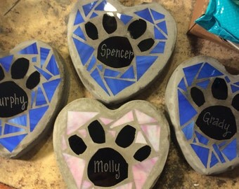 Stained Glass Concrete Garden Stepping Stone Dog Paw Dog Bone with Pets Name
