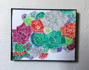 Succulents One of a Kind Watercolor Painting