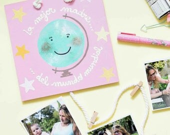 """Hanger with clips """"Mother"""" pink frame"""