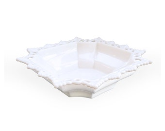 Westmoreland Glass Rings and Petals Square Bowl, Milk Glass