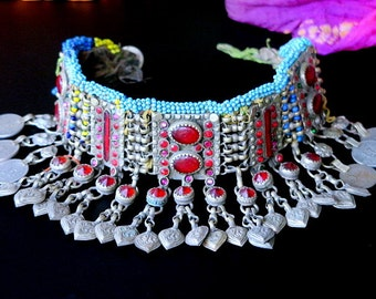 KUCHI CHOKER NECKLACE - Vintage Tribal Jewelry with Charm Dangles