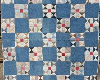 Flying X Antique Quilt With Cadet Blue and Assorted Pieced Blocks