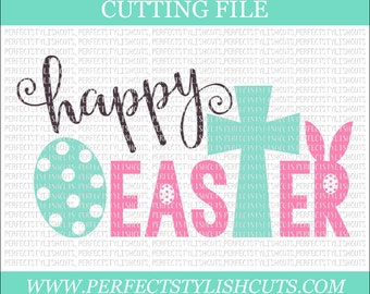 Happy Easter SVG, DXF, Eps, png Files for Cutting Machines Cameo or Cricut - Easter svg, Cross svg, Bunny svg, Easter Egg svg, Spring Svg