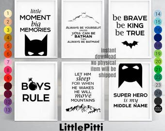 Batman nursery, superhero nursery, superhero printables, batman birthday, batman kids, boy room decor, nursery wall art, set of 6 prints