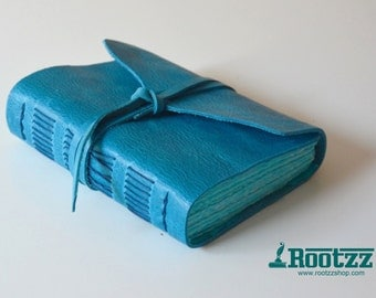 Leather journal blue wonder - travelers notebook - journal - leather book