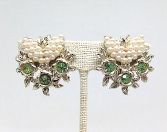 Mesmerizing Green Rhinestone Floral Gold Tone Vintage Estate Clip Earrings