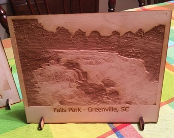 Laser Engraved Wood Falls Park Photo