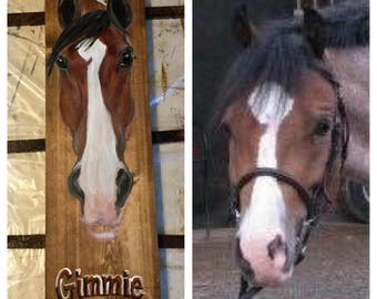 Horse portrait on wood