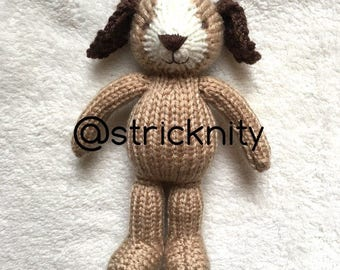 Handknitted puppy for babies, newborn photography props