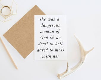 Christian Card | Dangerous Woman Of God | Christian Greeting Card
