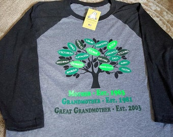 Custom Mother, Father, Grandmother, Grandfather, Great-Grandmother, Great-Grandfather Family Tree on Raglan baseball shirt or T-shirt