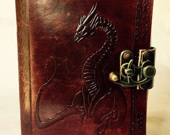Leather Journal, Dragon journal, Leather Bound diary, Dragon book, Sitting Dragon, Blank Leather Notebook