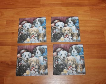 Paper napkins for decoupage;Dog/Puppy napkins;Decorative napkins;Set of 4 napkins;Decoupage napkins;Decoupage supplies