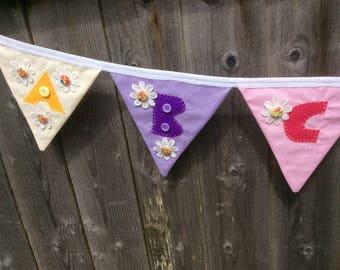 Fabric bunting, fabric garland, bedroom decor,  nursery bunting, flower bunting, nursery garland, bedroom garland, flower garland