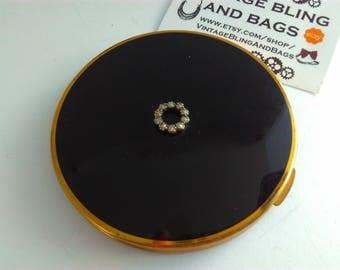 Vintage, rhinestone compact, black enamel compact, vintage compact, powder compact, black enamel, vintage powder compact, enamel compact