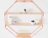 Copper Pipe Octagon Statement Shelf Wall Hanging Storage