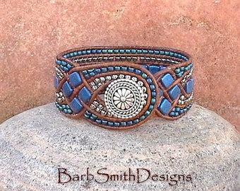 Leather Cuff Bracelet-Blue Silver Beaded Wrap Bracelet-Unique Wide Leather Cuff-Leather Weave-Custom Sizes-Queen of Diamonds in Blue Suede