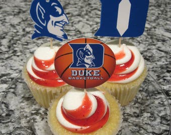 Cupcake toppers, party supplies, Duke Blue Devils, basketball, sports theme, NCAA, March Madness, college